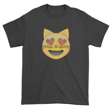 (Color) Emoticon - Heart Eyes Cat Face Smiley Mens T-shirt