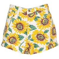 PrettyGuide Women Sunflower Print Stretch Denim High Waist Cuff Shorts Hot Pants XS