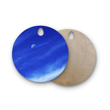 "Nick Nareshni ""Daylight Moon"" Blue White Photography Round Wooden Cutting Board"