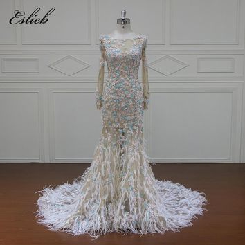 Eslieb Vestido De Noiva Sexy Pearls Flower Wedding Dresses 2018 Long Sleeve Illusion Feathers Mermaid Bridal Gown Plus Size