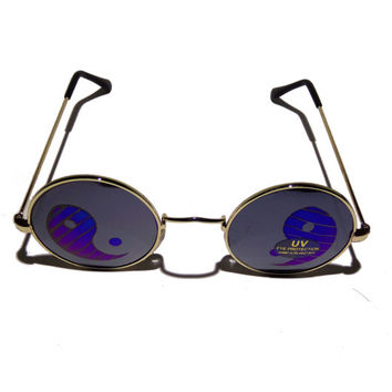 FREE SHIPPING, Gold rim round hippie hippy 90s grunge retro vintage yin yang mirror hologram holographic deadstock lennon sunglasses glasses