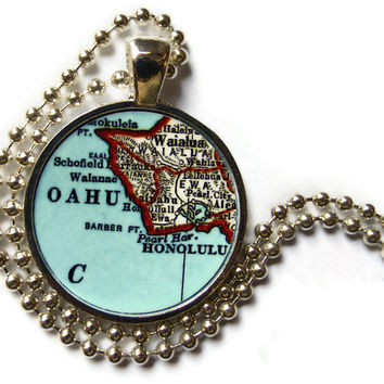Oahu Hawaii map necklace pendant charm, Hawaiian Jewelry, photo pendant