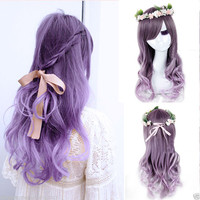 Lolita Women's Ladies Long Curly Wavy Hair Full Wigs Anime Purple Ombre Wig