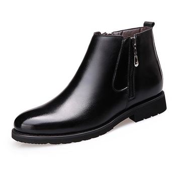 Mens Leather Pointy Toe Oxford Zipper Casual Ankle Boots Chukkas Warm Fur Winter