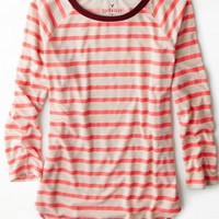 AEO Women's Soft & Sexy Striped Baseball T-shirt (Neon Runner Pink)