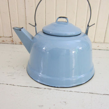 Vintage Enamel, Tea Kettle, Cottage Chic  Blue Teapot
