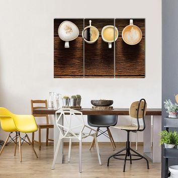 Variety Of Cups Of Coffee On Old Wooden Table Multi Panel Canvas Wall Art