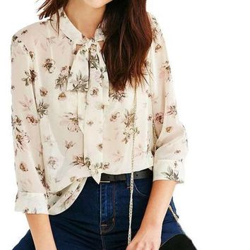 Fashion Floral Printed Shirts Women 3-4 Sleeve Female Pullover Tops Chiffon Blouse Casual Shirts For Ladies
