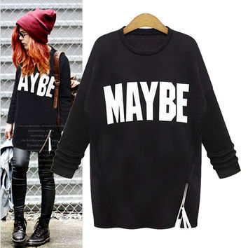 """MAYBE"" Print Jacket With Side-Zip"