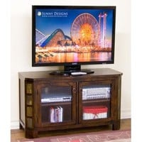 Sunny Designs 3416DC Santa Fe TV Console In Dark Chocolate