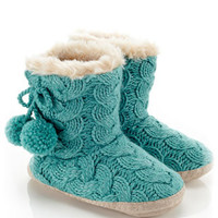 Lurex Cable Knit Boot Slippers | Blue | Accessorize