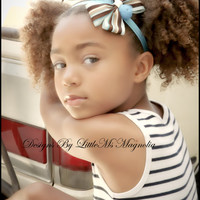 "Blue, Sassy, Striped, Headband, baby girl, toddler girl,little girl, newborn, ""Seeing Stripes"" Hair Accessory"