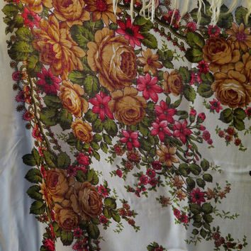 Vintage Russian Babushka White Brown Floral Shawl With Tassels / Vintage Tablecloth