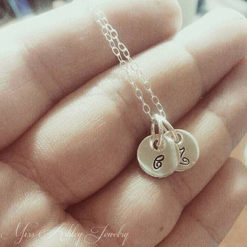 Teeny Tiny Sterling Silver Initial Disc Necklace, Minimalist Jewelry, Dainty Jewelry, Couples Initials, Kids Initials, Hand Stamped Jewelry