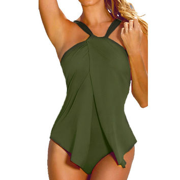 swimwear women One Piece Swimsuit Monokini Padded Bikini Tankini XXL XXXL Big Size Women Beach Swim One-Piece Suits EA14
