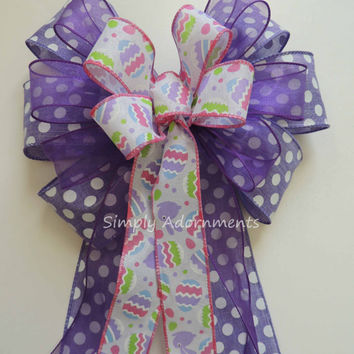Pink Purple Easter Bunny Wreath Bow Purple Easter Eggs Door Hanger Decor Purple Pink Easter Baby Shower Decor Easter Basket Gift Bow