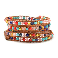 "HOLIDAY CLEARANCE SALE! The Gypsy Love - 34"" Multi-Color Beaded Brown Leather Wrap Bracelet"