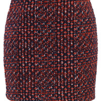 Mid Rise Tweed Skirt in Red Red M