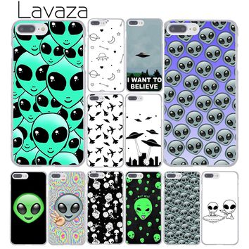 Lavaza Alien Believe UFO ET cute Emoji Hard Coque Shell Phone Case for Apple iPhone 8 7 6 6S Plus X 10 5 5S SE 5C 4 4S Cover
