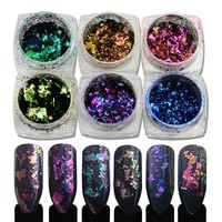 6Bottles Nail Sequins Irregular Chameleon Effect Nail Glitter Shinning Powder Manicure Dust DIY Nail Art Decorations LABS01-06x6