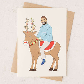 FINEASSLINES Drake On A Reindeer Holiday Card - Urban Outfitters