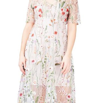 ELVI Floral Embroidered Floral Net Dress (Plus Size) | Nordstrom