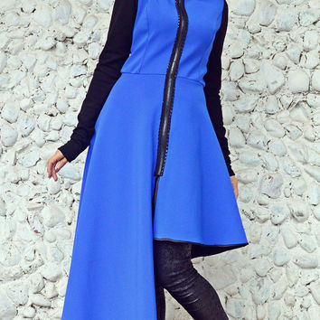 ON SALE 25% OFF Blue Neoprene Jacket / Asymmetrical Funky Neoprene Jacket / Blue Asymmetrical Jacket Tc69
