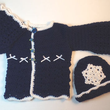 Handmade Girl's 12 to 18 Months, Blue and White, Winter Cardigan Sweater & Hat, White Sparkle Snowflake, Toddler Crochet Sweater, Soft Wool