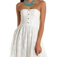 Button-Front Lace Tube Dress: Charlotte Russe