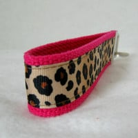 Cheetah Key Chain Key Fob Hot Pink Wristlet by CreativeJenV