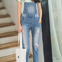 Faded Boyfriend Style Ripped Denim Overalls