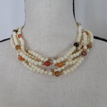 Creamy White Multi Strand Necklace with Earth Tone Stone Beads, 5 Strand Twist
