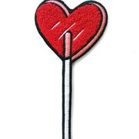 Heart Lolli Large Chenille Patch - Red