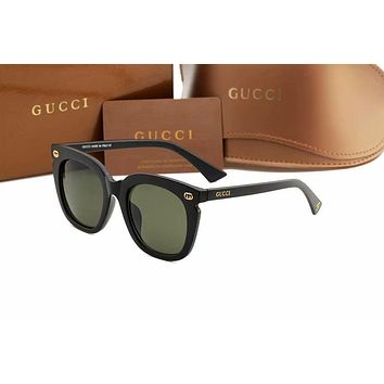 GUCCI Stylish Women Simple Summer Style Sun Shades Eyeglasses Glasses Sunglasses Army Green/Black I-AJIN-BCYJSH