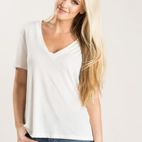 Whitney Soft White V-Neck Tee