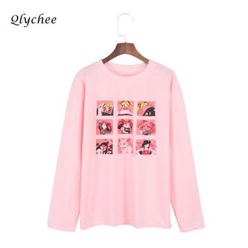 Qlychee Cartoon Sailor Moon Loose T-shirts for Women Clothes 2017 Long Sleeve Tee Shirt Femme Summer Casual Tops T shirts