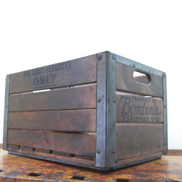Vintage Wood Crate, Borden's Crate, Wooden Crate, Milk Crate, Wood Box, 1950s