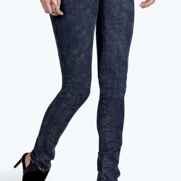 Chloe Dark Acid Wash Pull On Denim Jeggings