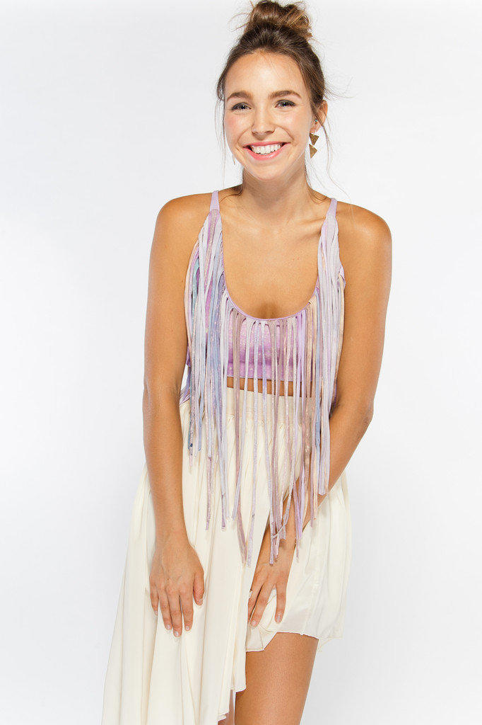 Hand Dyed Fringe Crop Top with Cross Tie Back