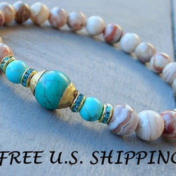 Laughter, Turquoise, Crazy Lace Agate, Yoga Bracelet, Happiness bracelet, Reiki Jewelry, wrist mala, Turquoise bracelet, Nepalese mala, Mala