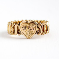 Vintage Rosy Yellow Gold Filled Initial W Heart Expansion Bracelet - 1940s Stretch Sweetheart Flower Single Letter Monogram Jewelry