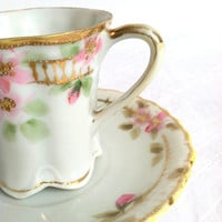 Mid Century Hand Painted Nippon Demitasse Tea Cup and Saucer/Cottage Charm