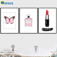Makeup Lipstick Butterfly Perfume Wall Art Print Canvas Painting Nordic Poster Wall Pictures For Living Room Salon Decor Quadro