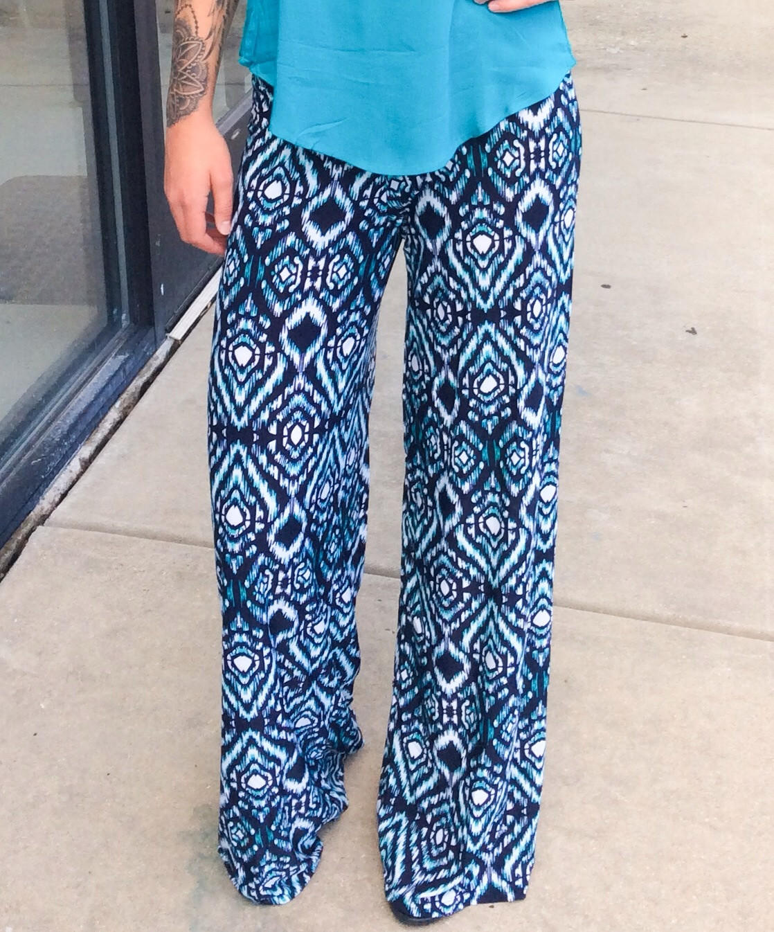 Navy Amp Teal Palazzo Pants From Dixieland Boutique Outfits