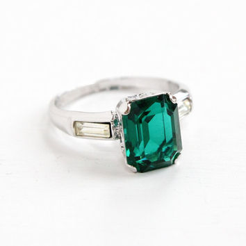 Vintage Sterling Silver Simulated Emerald & Diamond Ring - Mid Century 1950s Hallmarked Uncas Green Glass Jewelry