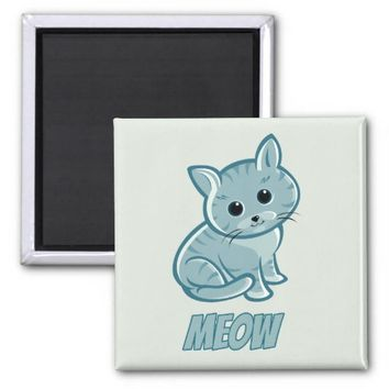 Teal Blue Cute Cat Square Magnet