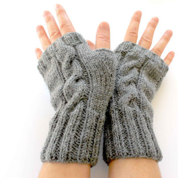 Hand Knitting Fingerless Gloves Mittens Arm Warmers Harvest Gray . Autumn trend. Black Gray