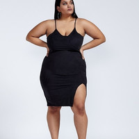 Have It The Suede Way Black Faux Suede Spaghetti Strap Bodycon Dress Plus Size
