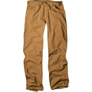 "Dickies 1939RBD3232 Men's Relaxed Fit Carpenter Duck Jeans, 32"" x 32"", Brown"
