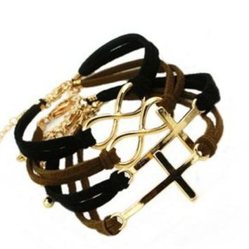 Golden Cross Pattern with Leather Strap wrap bracelet